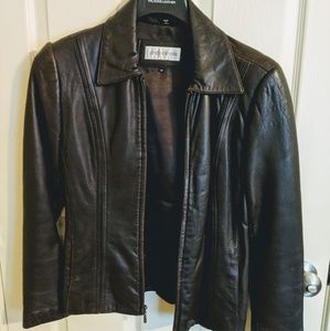 Jones New York SM leather jacket, chocolate brown